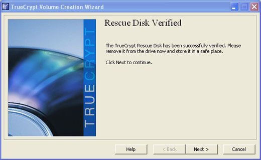 truecrypt rescue disk successfully burned