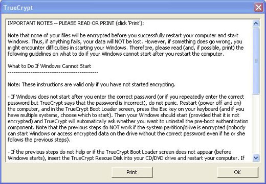 truecrypt boot warning