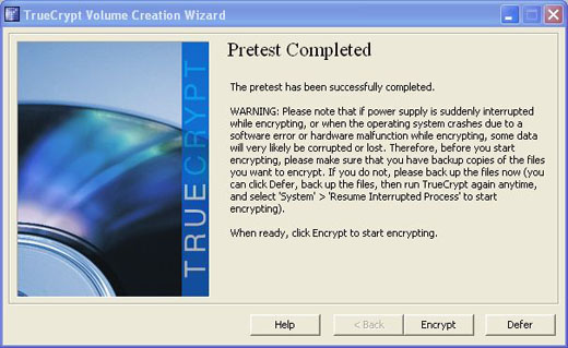 truecrypt pretest completed successfully