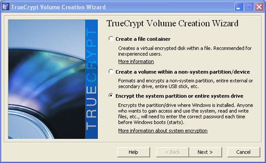 truecrypt encrypt the system partition or entire drive