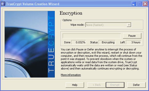 truecrypt begin the encryption