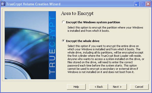 truecrypt encrypt the whole drive