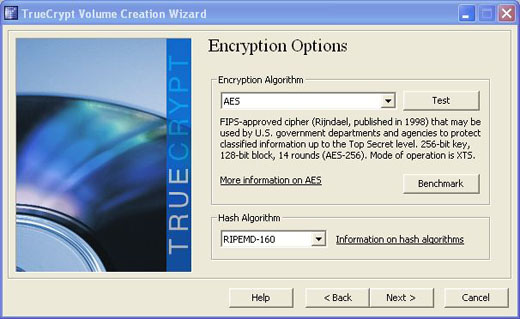 truecrypt with AES and RIPEMD-160