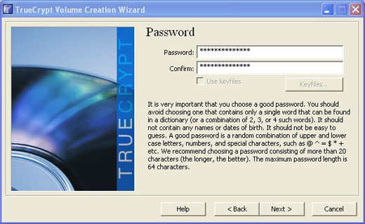 truecrypt passphrase password random number generator