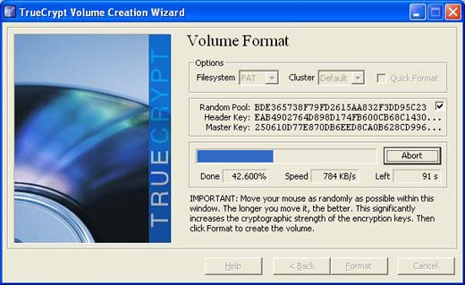 TrueCrypt encrypting the drive