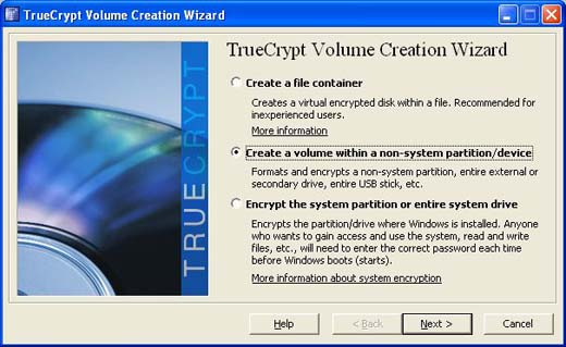 Create a volume with a non-system partition/device
