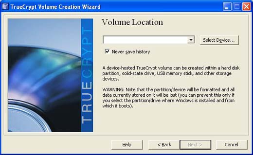 select device in truecrypt