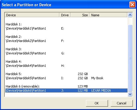 selecting the partition