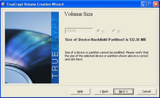 encrypted volume size