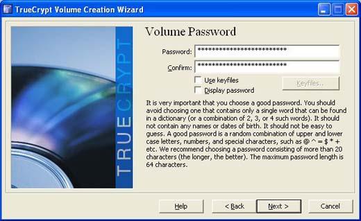 choose and encryption passphrase