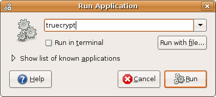 Launching TrueCrypt